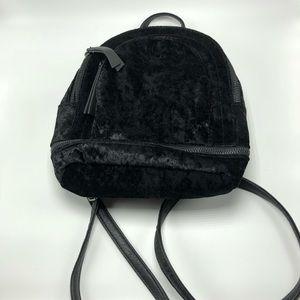 Mudd black velvet mini backpack